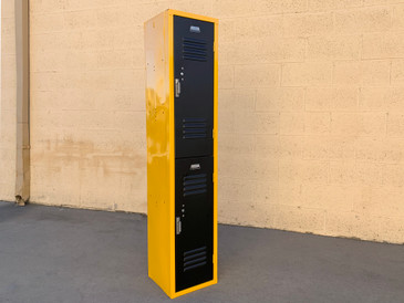 Vintage Vertical Locker Cabinet, Refinished in Yellow Ochre