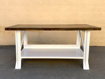 Large Refinished Vintage Work Table with Antique Reclaimed Wood Top
