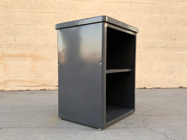 1960s Steelcase Side Cabinet with Adjustable Shelf Refinished in Metallic Gray