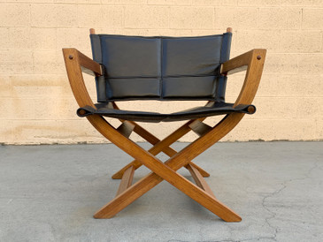 "1970s Modern Teak and Leather Folding Chair, ""Director's Style"""