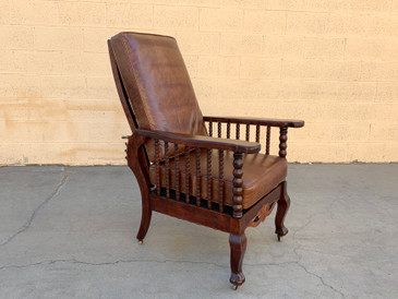 Original Antique Morris Reclining Chair with Reversible Leather and Velvet Seat