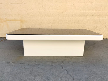 SOLD - 1970s Modern Lacquer Coffee Table with Smoked Glass Top, Refinished
