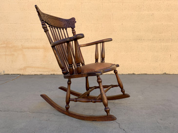 Early 1900s Press Back Rocking Chair With New Leather Seat, Free U.S. Shipping