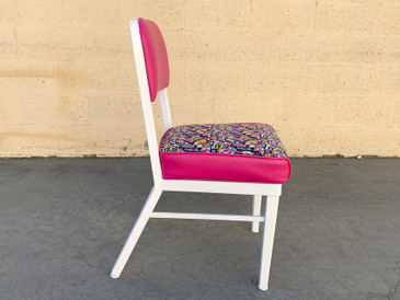 1960s McDowell Craig Steel Side Chair, Refinished With Retro Fabric