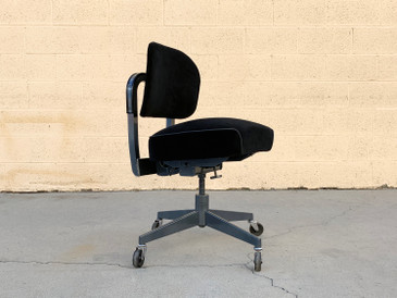 1960s Task Chair by Steelcase, Refinished in Black Velvet