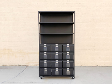 Custom 3 X 4 Locker Basket Unit on Casters With Three Shelves, Matte Black