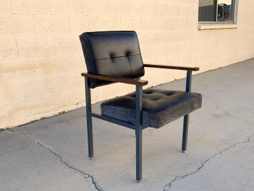 1970s Knoll Style Armchair with Refinished Steel snd New Leather