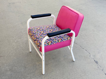 Mid Century ModeCraft Salon Chair, Refinished in Pink and White