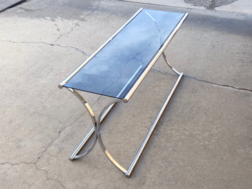SOLD - Vintage Chrome Console Table with Smoked Glass