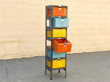 1 x 6 Locker Basket Unit with Multicolored Baskets, Newly Fabricated to Order