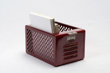 SOLD - 1950s Reclaimed Mini Locker Basket, Refinished in Wine, Free U.S. Shipping