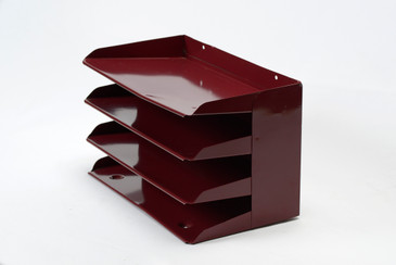 SOLD - Mid Century Desktop File Holder, Refinished in Red Wine, Free U.S. Shipping