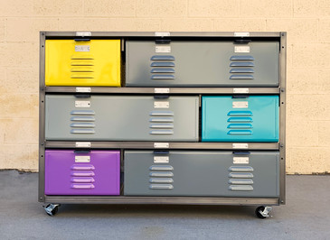 Custom Made 3 x 3 Locker Basket Unit with Specialty Double-Wide Baskets