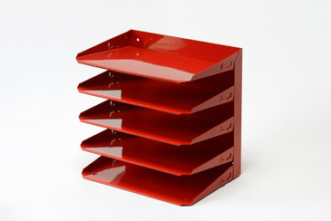 SOLD - Mid Century Desktop File Holder, Refinished in Ruby Red, Free U.S. Shipping