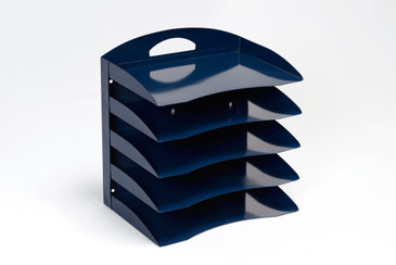 SOLD - Mid Century Handled Organizer, Refinished in Midnight Blue, Free U.S. Shipping