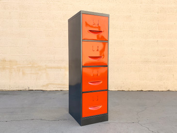 1960s Steel File Cabinet with Pressed Handles, Refinished