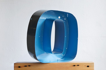 "SOLD - Refinished Vintage Metal Letter ""O"" in Sky Blue"