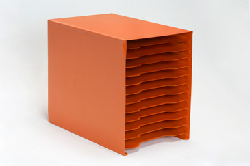 Mid Century 12 Slot Desktop File Holder, Refinished in Tangerine, Free U.S. Shipping