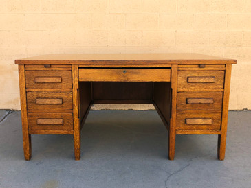 SOLD - 1920s Golden Oak Teacher's Desk, Refinished