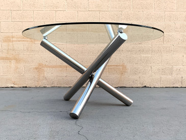 Milo Baughman Inspired Chrome Jax Table