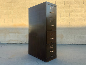 Shaw Walker 1940s File Cabinet with Brass Hardware