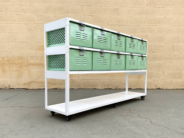 Custom Made 5 X 2 Locker Basket Unit with Shelf and Casters