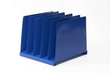 1970s Desktop File Holder, 5 Slot, Refinished in Blue, Free U.S. Shipping