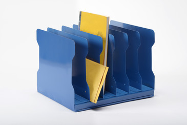 SOLD - 1940s Desktop Memo/ File Holder, Refinished in Moon Blue, Free U.S. Shipping
