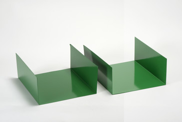 SOLD - Pair of 1960s Aluminum Trays/ Bookends Refinished in Winter Green, Free U.S. Shipping
