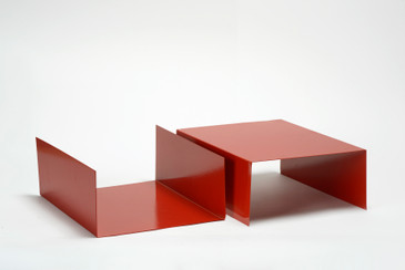 Pair of 1960s Aluminum Trays/ Bookends Refinished in Red, Free U.S. Shipping