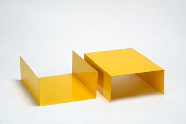 Pair of 1960s Aluminum Trays/ Bookends Refinished in Yellow, Free U.S. Shipping