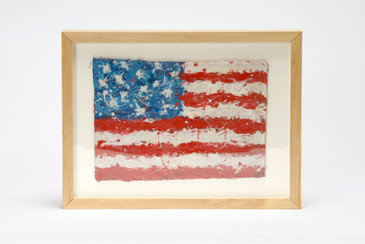 SOLD - Abstract Expressionist Flag Painting by Patrick Fraleigh, Free U.S. Shipping