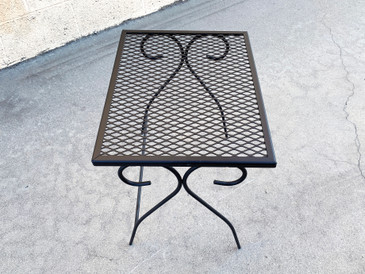 Mid Century Patio Table Refinished in Matte Black, Free U.S. Shipping