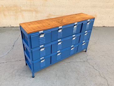Custom 4 X 3 Locker Basket Unit with Reclaimed Wood Top