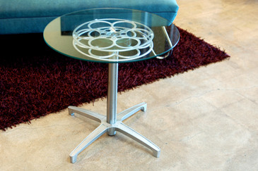 Rehab Original Film Reel Side Table, 1960s Modern Base- CUSTOM ORDER