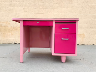 SOLD - 1960s Single Pedestal Tanker Desk Refinished in Two-Tone Pink