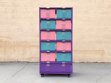 "Custom 2 X 6 Locker Basket ""Tall Boy"" Unit with Single and Double Wide Baskets"