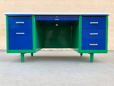 McDowell Craig Tanker Desk Refinished in Bauhaus Colors, In Stock and Ready to Ship