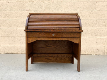 Antique Children's Oak Roll Top Desk, American Craftsman