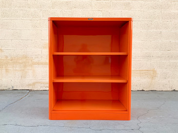 Rare McDowell Craig Tanker  Bookcase Refinished in Tangerine, Ready to Ship