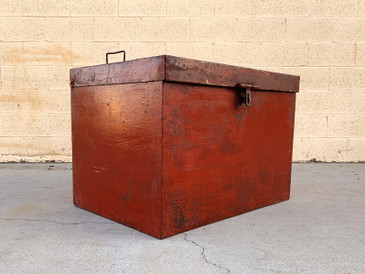 Handmade Vintage Craftsman Metal Storage Box with Distressed Patina
