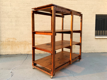 1950s Craftsman Wood Rolling Rack on Casters, Handmade