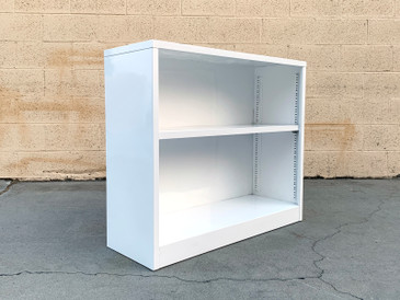 Mid Century Steel Tanker Office Bookcase in Gloss Refinished in White