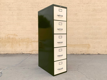 Mid Century Steelcase File Cabinet, Refinished in Pearl and Army Green