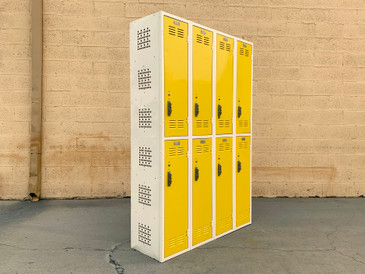 SOLD - Mid Century Column Locker Unit Refinished in Yellow and White