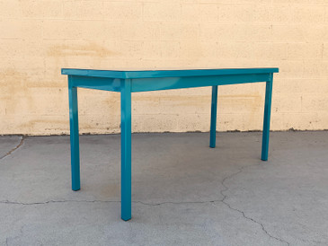 Mid Century Tanker Table in an Uncommon Size, Refinished in Teal