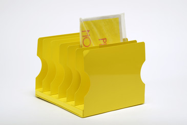 1940s Desktop File Holder Refinished in Mellow Yellow, Free U.S. Shipping