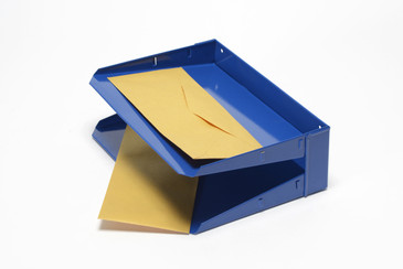 Mid Century In-n-Out Mail Tray Refinished in Royal Blue, Free U.S. Shipping