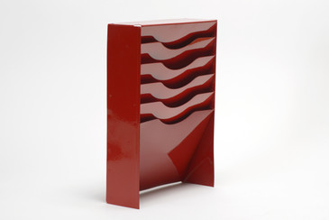 Vintage Vertical File Holder/ Magazine Rack Refinished in Red, Free U.S. Shipping