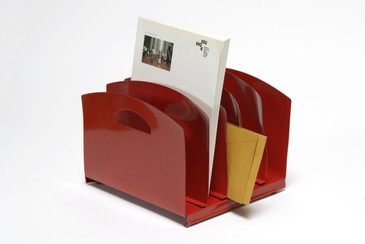SOLD - 1960s Desktop Memo Holder with Handle, Refinished in Red, Free U.S. Shipping
